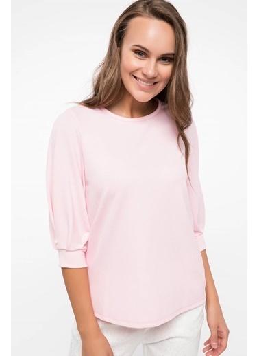 DeFacto Basic Krep Bluz Pembe